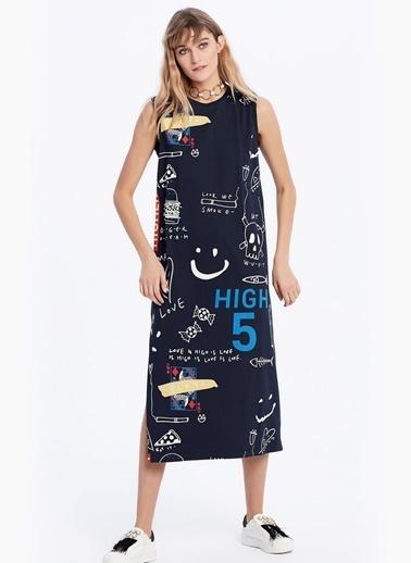 Yan Yırtmaçlı Baskılı Midi Elbise-Twist